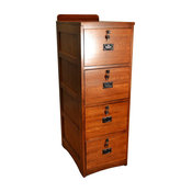 Mission Solid Oak 4-Drawer File Cabinet With Locks and Keys