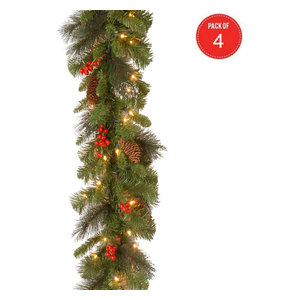 """9' x 10"""" Crestwood Spruce Garland,Silver Bristle,Cones,Red Berries(Pack of 4)"""