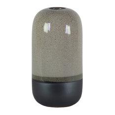Stoneware Cylinder Vase, Small Mouth, Black Banded Rim Bottom, Large, Gloss Gray