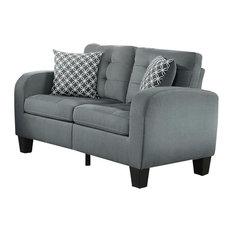 Sigmond Casual Button Tufted Love Seat, Gray Fabric