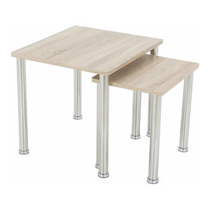 Modern Set of 2 Side Tables With Chrome Metal Frame and Oak Effect MDF Top