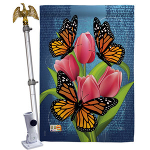 Monarch Butterflies 2 Sided Vertical Impression House Flag Contemporary Flags And Flagpoles By Breeze Decor