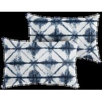 Sunbrella Carrington Indigo Geometric Outdoor Lumbar Pillow, Set of 2