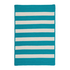 Colonial Mills Stripe It TR49 Turquoise Indoor/Outdoor Area Rug, Square 12'x12'