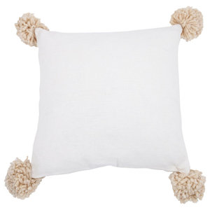 Pom Pom Cushion Cover, Ivory, Small
