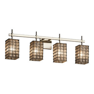 Justice Designs Wire Glass Union 4-Light Bath Bar, Brushed Nickel