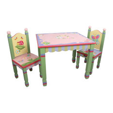 Teamson Design   Magic Garden Handcrafted Kids 3 Piece Wooden Table And  Chair Set