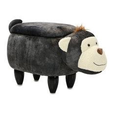"15"" Seat Height Plus Animal Shape Storage Ottoman Furniture Gray Monkey"