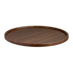 Kraftware Woodcraft Walnut Round Serving Tray
