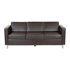 Office Star Products - Pacific Easy-Care EspressoFaux Leather Sofa Couch with Box Spring Seats - Sofas