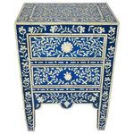 Badia Design Inc. - Moroccan Bone Accent Nightstand, Blue - Moroccan Bone Accent Nightstand
