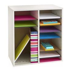 Modern Magazine-Literature Organiser in White Painted MDF with 16 Compartments
