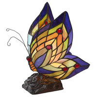 """River of Goods 8597 Butterfly Single Light 9-1/2"""" High Lamp with Stained Glass"""