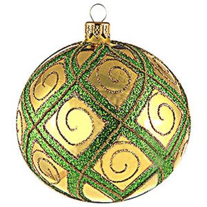 Large Ruby Ball Ornament With Gold Lattice Traditional Christmas Ornaments By Glassor Us Houzz