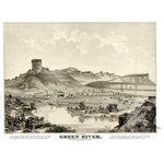 """Ted's Vintage Art - Old Map of Green River Wyoming 1875, Vintage Map Art Print, 12""""x18"""" - Old Map of Green River, Wyoming - 1875"""