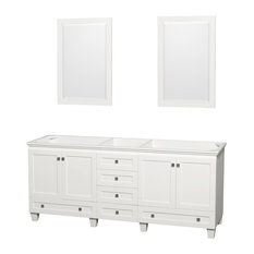 "Double Bathroom Vanity, No Countertop, No Sinks, 24"" Mirrors, White, 78.75"""