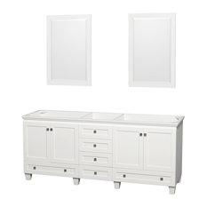 "Wyndham Collection - Double Bathroom Vanity, No Countertop, No Sinks, 24"" Mirrors, White, 78.75"" - Bathroom Vanities and Sink Consoles"