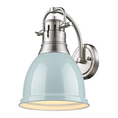 Duncan 1-Light Wall Sconce, Pewter With Seafoam Shade