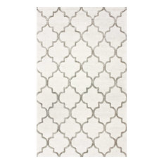 Handmade Trellis Rug, Light Gray, 9'x12'