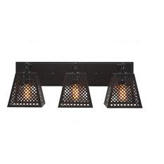 "Corbello 3-Light Bath Bar, 7"" Espresso Shades and Amber Antique LED Bulbs"