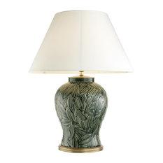 "Green Ceramic Table Lamp, Eichholtz Cyprus, Green, 13""x26""x34"""