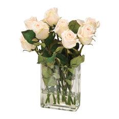 Waterlook® Champagne Rose Buds in Rectangular Vase