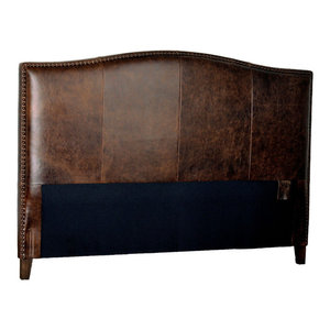 Leather Headboard With Distressed Nailheads, Antique Brown, King