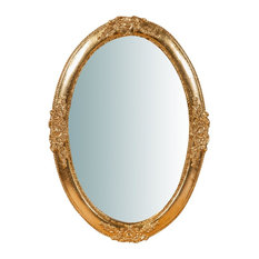 Traditional Wooden Wall Mirror, Gold, Oval 45x65 cm