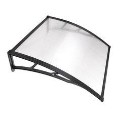 YesHom - Polycarbonate Hollow Sheet Window Awing, Clear With Black Trim, 1 -Piece - Awnings
