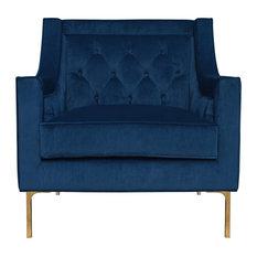 Nolan Navy Blue Club Chair by Kosas Home