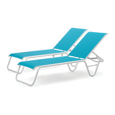 Lay-flat Stacking Armless Chaises, Set of 2, Aqua