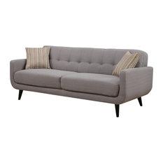 Gray Mid-Century Polyester Fabric Sofa