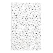 Hand-Tufted Soft and Plush Diamond Lattice Shag Rug, White, 6'x9'