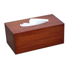 Tissue Box Cover in Antique Mahogany Wood, Regular Rectangular Size