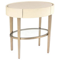 Luxe Modern Oval Ivory Leather Metal Accent Table, Bronze Minimalist Side