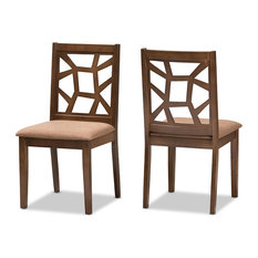 Abilene Mid-Century Light Brown Fabric And Walnut Brown Dining Chair Set Of 2