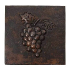 "Grapes Design Hammered Copper Tile, 10""x10"""
