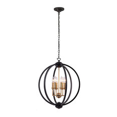 Kara 6-Light Chandelier, Black With Vintage Bronze Cluster