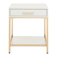 Alios End Table With White Gloss And Gold Chrome Plated Base