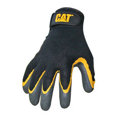 Cat Gloves Large Yellow and Black Double Coated Textured Latex Gloves