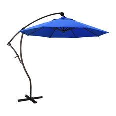 9' Bronze Cantilever Crank Aluminum Umbrella, Pacific Blue Sunbrella
