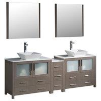 """84"""" Gray Oak Modern Double Sink Bathroom Vanity w/ Side Cabinet & Vessel Sinks"""