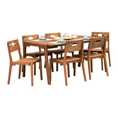 Otero Eucalyptus Wood Outdoor Dining Table With 6 Dining Chairs, Set of 7