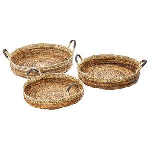 Round Banana Bark Serving Trays, 3-Piece Set