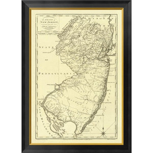 State Of New Jersey 1795 Framed Canvas Giclee By Mathew Carey 19x26 Traditional Prints And Posters By Global Gallery