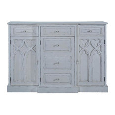 ST CROIX Console Cabinet Gothic Antiqued White Solid Wood 3 -Door
