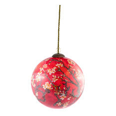 overstockArt - Red Almond Tree Hand Painted Glass Ornament - Christmas Ornaments