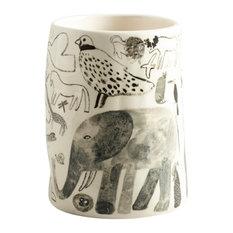 Handmade Illustrated Ceramic Vase by Laura Carlin