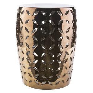 Safavieh Castle Gardens Collection Jasmine Plated Gold Glazed Ceramic Garden Stool