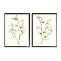 Cotton Flower Stems Rustic Floral Farmhouse Painting,2pc, each 11 x 14